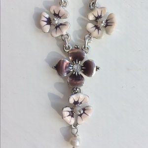 NWT - PILGRIM Pansy flower Necklace, Danish Design